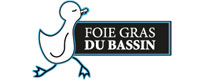 """Logo du """"Foie gras du Bassin"""". La marche fière du canard."""